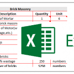 Calculation of Bricks Excel Sheet Download