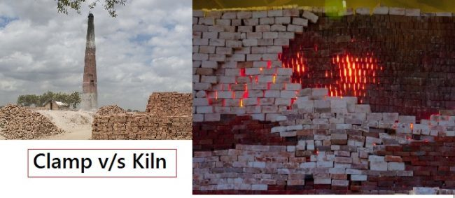 Difference between clamp burning and kiln burning